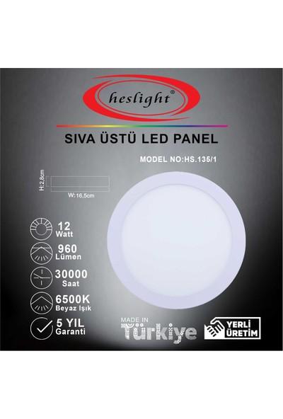 Heslight HS.135/1 12W Sıva Üstü LED Panel 6500K Beyaz Işık