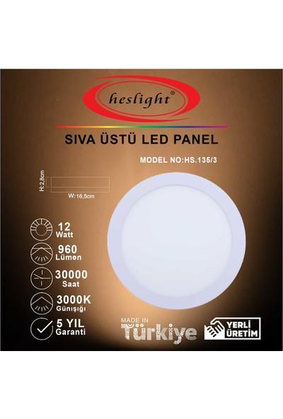 Heslight HS.135/3 12W Sıva Üstü LED Panel 3000K Günışığı