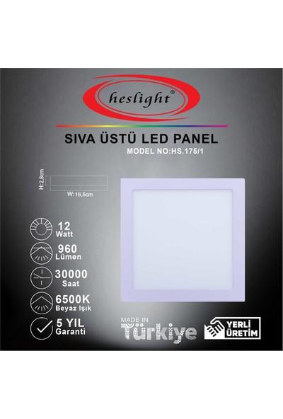 Heslight HS.175/1 12W Sıva Üstü Kare LED Panel 6500K Beyaz Işık