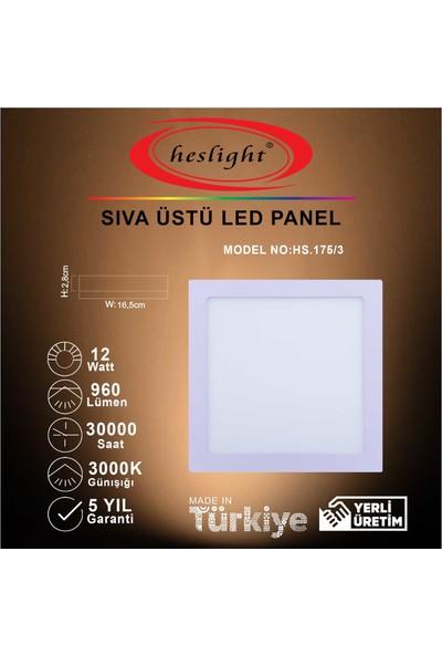 Heslight HS.175/3 12W Sıva Üstü Kare LED Panel 3000K Günışığı