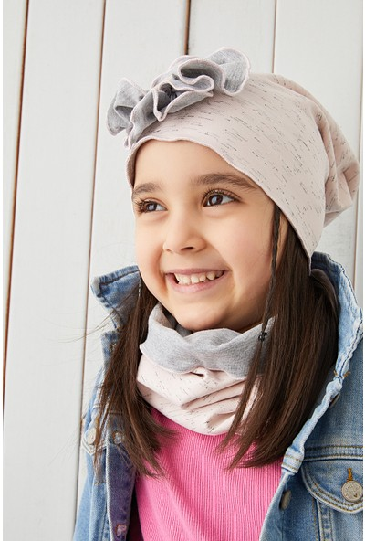 Babygiz Pudra Çiçekli Çocuk Şapka Bere Yumuşak Pamuklu Penye