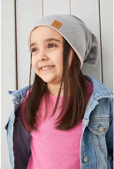 Babygiz Gri Pudra Ipli Çocuk Şapka Bere Fiyonklu Yumuşak Pamuklu Penye Elit Seri