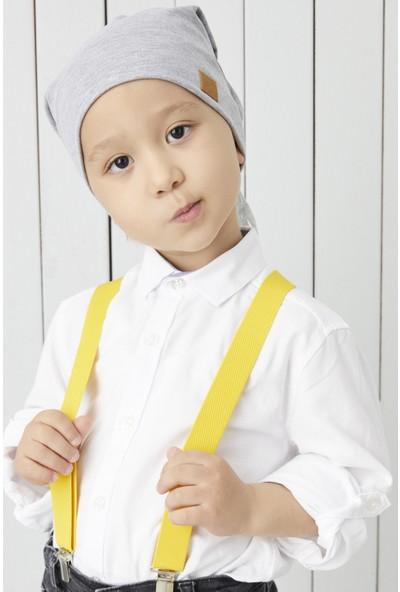 Babygiz Çocuk Gri Ip Detaylı 4 Mevsim Şapka Bere Buff -Yumuşak Penye