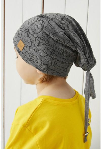 Babygiz Çocuk Füme Figürlü Ip Detaylı 4 Mevsim Şapka Bere Buff -Yumuşak Penye