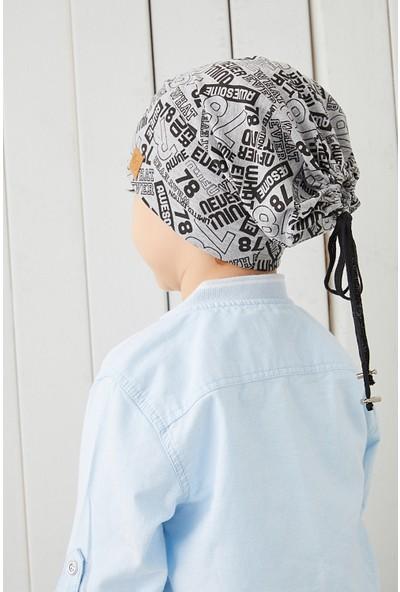 Babygiz Çocuk Gri Siyah Figürlü Ip Detaylı 4 Mevsim Şapka Bere Buff -Yumuşak Penye