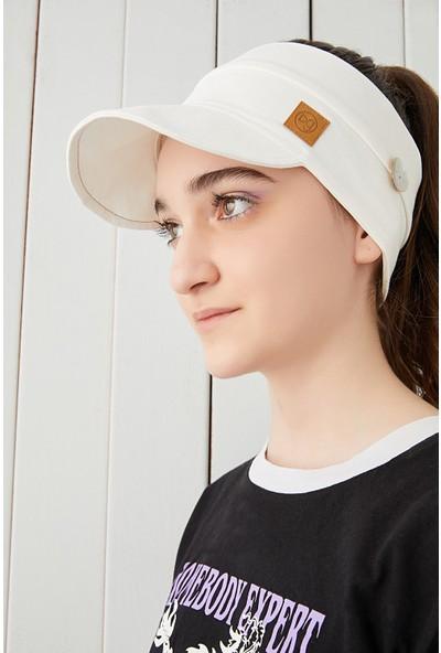 Babygiz Beyaz Çocuk Genç Maske Takılabilir Tenis Yazlık Vizyerli Spor Şapka Yumuşak Pamuklu Penye