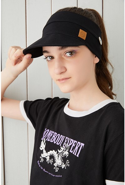 Babygiz Siyah Çocuk Genç Maske Takılabilir Tenis Yazlık Vizyerli Spor Şapka Yumuşak Pamuklu Penye