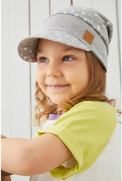 Babygiz Pamuklu, El Yapımı, Ekstra Yumuşak Bebek Çocuk Vizyerli Gri Şapka Bere