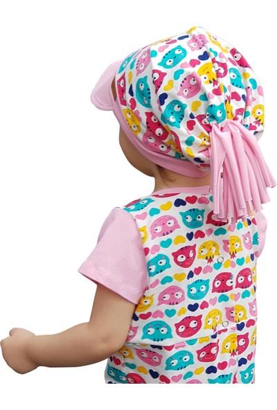 Babygiz Pamuklu, El Yapımı, Ekstra Yumuşak Kız Bebek Çocuk Vizyerli Kedi Desenli Şapka Bere