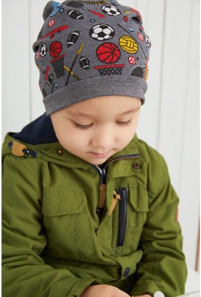 Babygiz Çocuk Füme Spor Desenli Şapka Bere Yumuşak Çift Katlı Pamuklu Penye