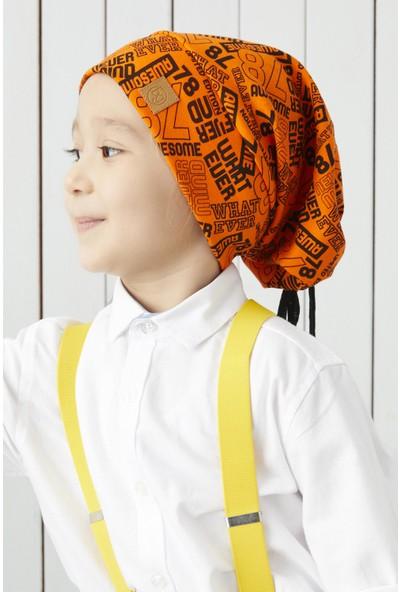 Babygiz Çocuk Turuncu Siyah Figürlü Ip Detaylı 4 Mevsim Şapka Bere Buff -Yumuşak Penye Kumaş