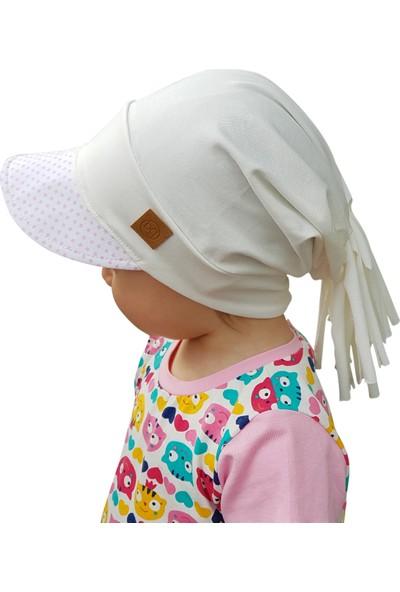 Babygiz Pamuklu,el Yapımı,ekstra Yumuşak Çocuk Beyaz Ekru Şapka Bere