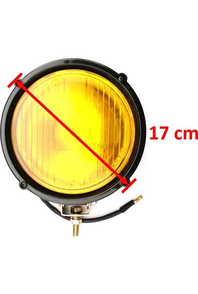 Enva Off Road Halogen Sarı Cam Sis Lambası Kapaklı Sağlam Plastik 17CM