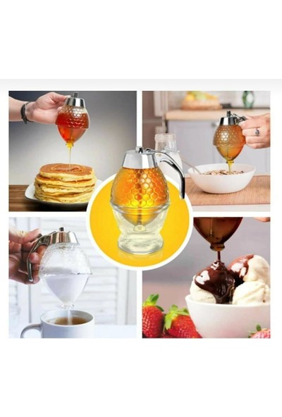 Mercan Baldanlık Honey Dispenser Bal, Tahin, Pekmez Zeytinyağı, Nar Ekşisi, Çikolata Sosu Dağıtıcı Kavanozu