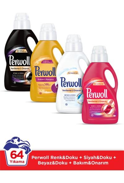 Perwoll Hassas Sıvı Çamaşır Deterjanı 16 Yıkama 1 Lt Siyah + Renk Doku + Bakım Onarım + Beyaz 4'lü Set