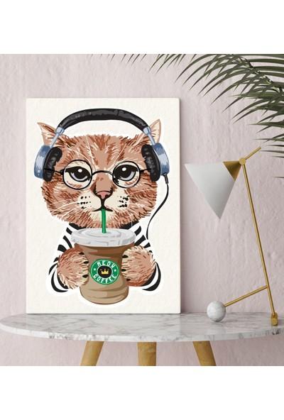 Bitmeyen Kartuş Bk Gift Kahve Içen Kedi Tasarımlı Kanvas Tablo 30X50CM-1