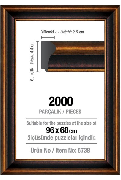 Art Puzzle 2000' Lik Kahverengi 96 x 68 cm (43 mm ) Puzzle Çerçevesi