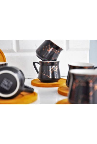 Paçi Bambu Tabaklı Siyah Kahve Fincanı 2'li