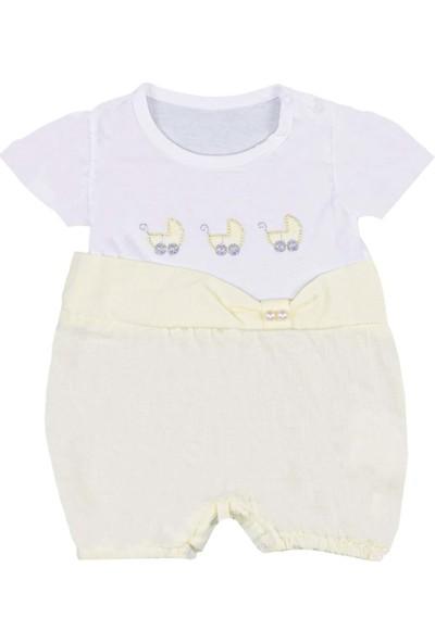 Nono Baby Kız Bebek Tulum Bebek Arabası Baskılı Renkli - Sarı - 0-3 Ay