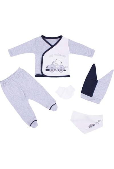 Nono Baby Erkek Bebek 5li Takım Arabalı Ayı Nakışlı - Gri - Yenidoğan