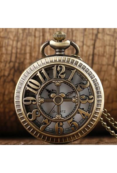 Hediye Sahibi Çarklı Rakamlar Görünümlü Büyük Boy Köstekli Saat Kolye