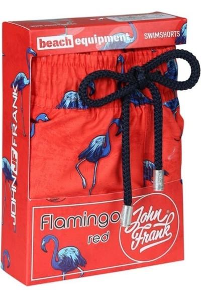 John Frank JFSS20SW02-RED Flamıngo Deniz Şortu Desenli