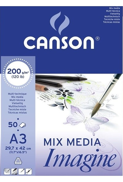 Canson Mix Media Imagine Resim Defteri 200 gr A3