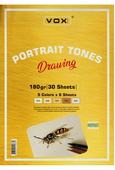 Vox Vo x Art Portait Tones Drawing Üstten Spiralli Çizim Blok 180 gr A5 30 Yaprak