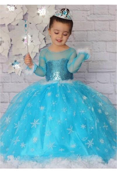 Peonia Kids Peoniakids Kız Çocuk Mavi Frozen Elsa Kostümü - Sim Dökülmeyen Ful Aksesuarlı Elsa Çocuk Kostüm