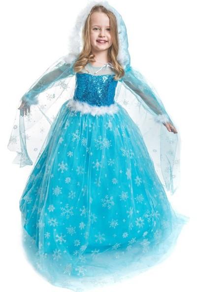 Peonia Kids Peoniakids Kız Çocuk Mavi Frozen Elsa Çocuk Kostümü - Sim Dökülmeyen Uzun Kol Pelerinli Ful Set Frozen Elsa Çocuk Elbise
