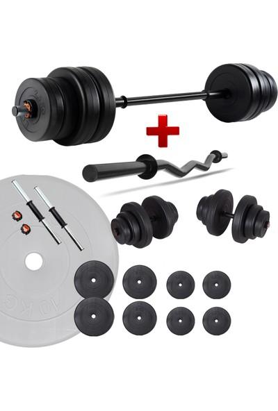 Ecgspor 48 kg Z Bar Halter Seti ve Dambıl Seti Ağırlık Fitness Seti