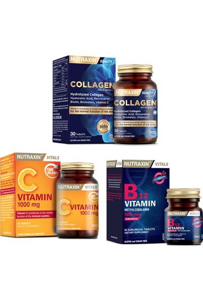 Hidrolize Kolajen 1050 Mg 30 Tablet + B12 Vitamini 1000MCG 60 Dilaltı Tableti+C Vitamini 30 Tablet