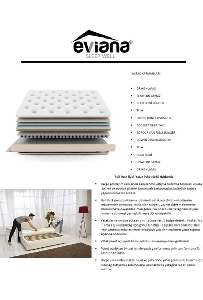 Evian Eviana Sleep Ultra Lüx Torba Yaylı Onepluss Yatak