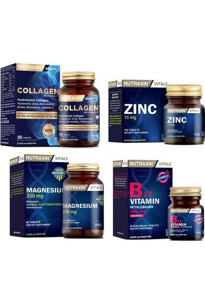 Nutraxin Kolajen Takviyesi 30 Tablet+Magnezyum 250 mg 60 Tablet+B12 Vitamini 60 DILALTI+ÇINKO15 mg 100 Tablet