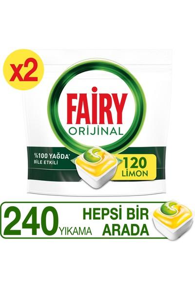 Fairy Hepsi Bir Arada 240 Yıkama Bulaşık Makinesi Deterjanı Kapsülü Limon Kokulu (120 x 2 Yıkama)