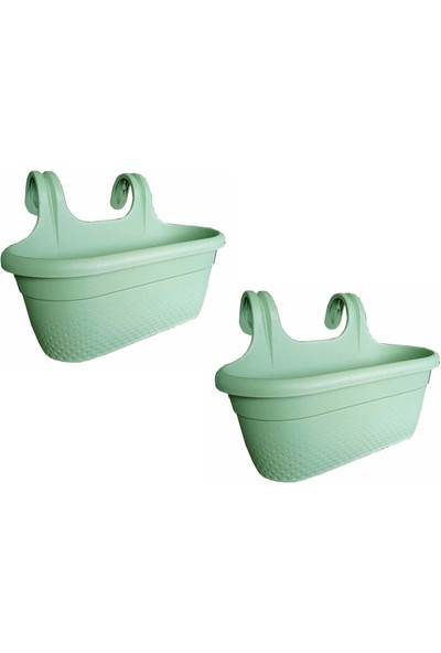 Home Care Homecare Francis 2 Adet Su Yeşili Balkon Saksı 714719