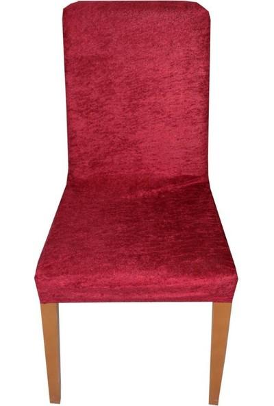 Bella Home Sandalye Kılıfı Kadife Kırmızı 6 Adet