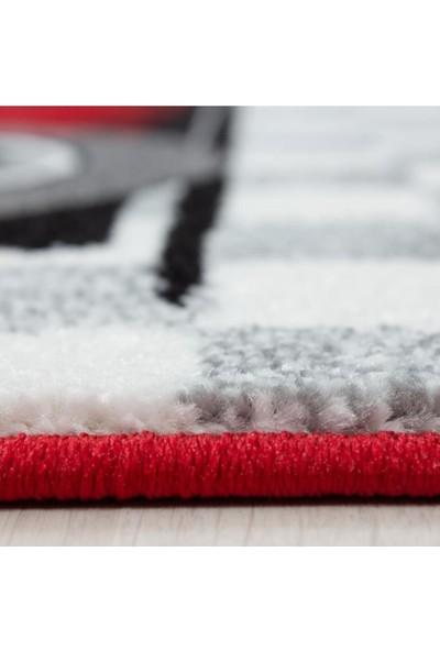 Ayyıldız Çocuk Halısı Yarış Araba Desenli Kırmızı Beyaz