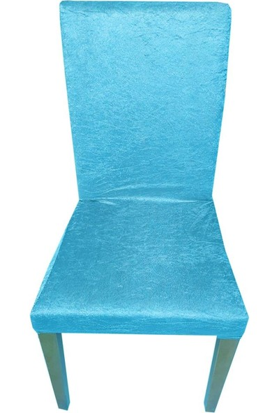 Bella Home Sandalye Kılıfı Kadife Turkuaz Tekli