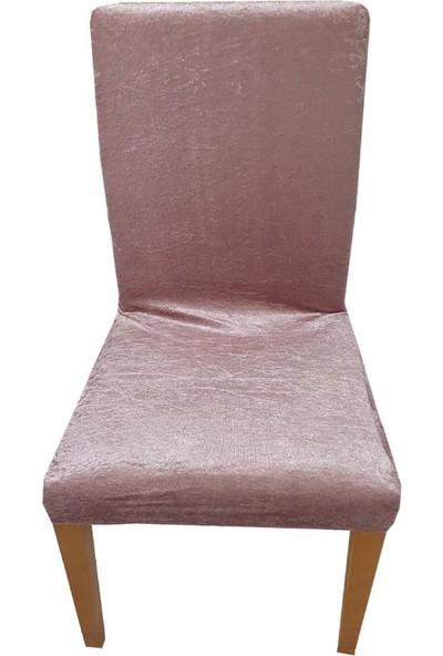 Bella Home Sandalye Kılıfı Kadife Gül Kurusu 6 Adet