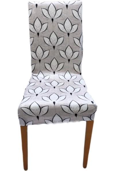 Bella Home Sandalye Kılıfı Kadife Lale Vizon 6 Adet