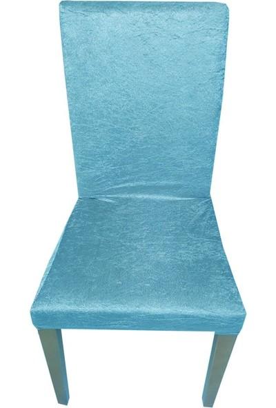 Bella Home Sandalye Kılıfı Kadife Mavi 6 Adet