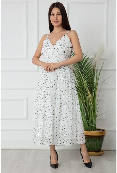 Kalopya Bayan Askılı Maxi Şifon Elbise 2201