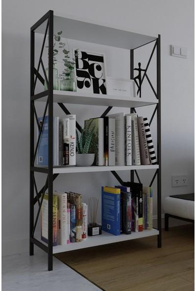 Larem Mobilya Metal Kitaplık 4 Raflı Dar Kitaplık Dosya Kitap Rafı Ofis Ev Rafı Kitap Raf Beyaz