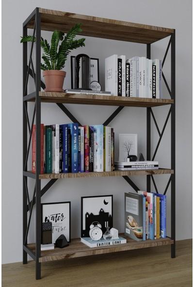 Larem Mobilya Metal Kitaplık 4 Raflı Geniş Kitaplık Dosya Kitap Rafı Ofis Ev Rafı Kitap Raf Ceviz