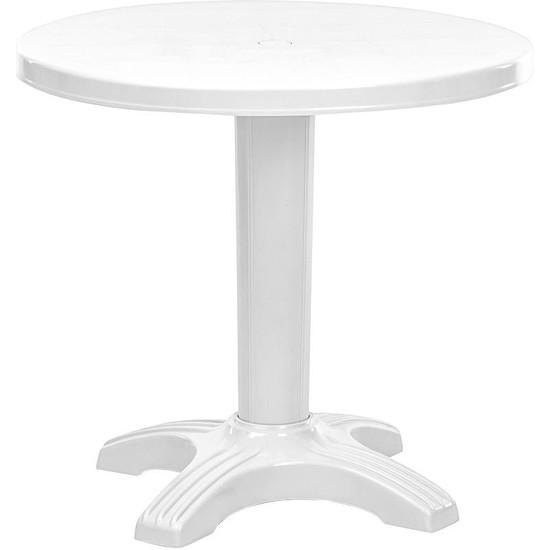 Omnipazar SY-2556 Beyaz Yuvarlak Plastik Masa 80X72 cm 51012
