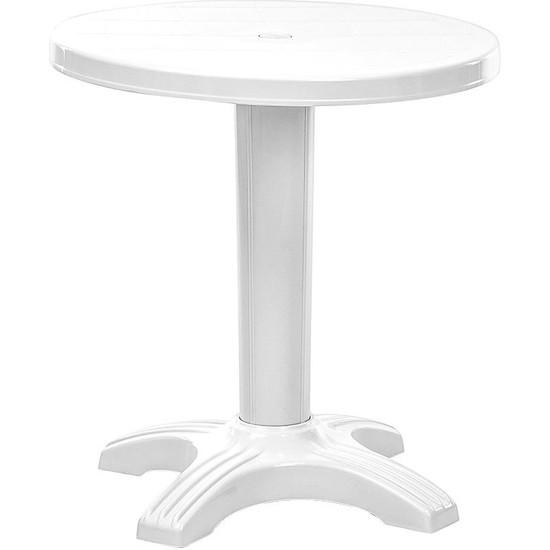 Omnipazar SY-2560 Beyaz Yuvarlak Plastik Masa 70X72 cm 31642
