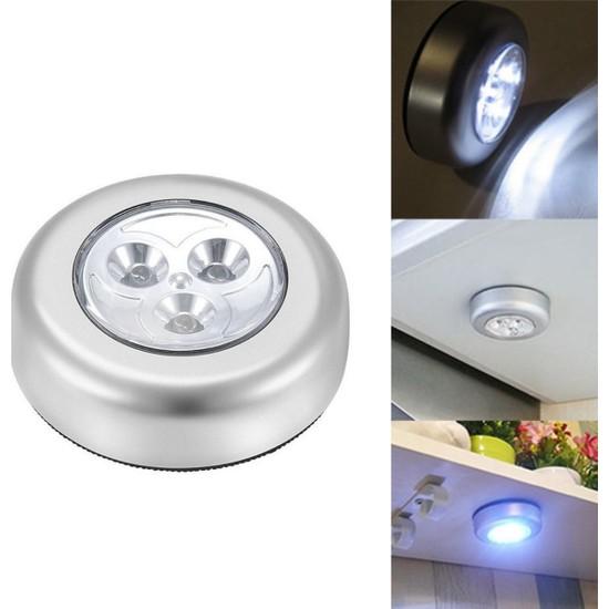 Buffer Kablosuz Dolap Spot Lamba Dokunmatik Pilli LED Lamba 3 Ledli Dolap Mutfak Içi Aydınlatma
