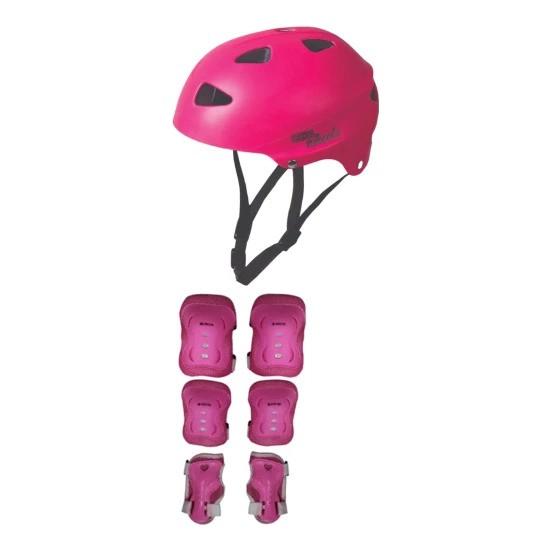 Yk Store Cool Wheels Çocuk Bisiklet Paten Kaskı Pembe ve 6 Parça Dizlik Dirseklik Set