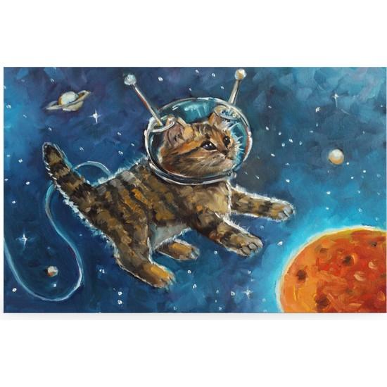 Treedi Art Uzaylı Kedi Dekoratif Tablo